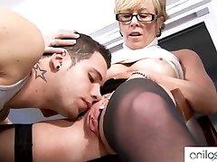 Horny grandma seduces schoolgirl