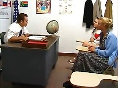 Schoolgirl fucked by teacher. Mommy fingered and watches