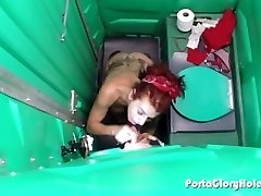 Porta Gloryhole Mature Redhead tonguing shafts