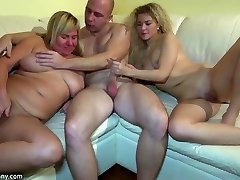 Youthfull girl fucking in three-way with granny