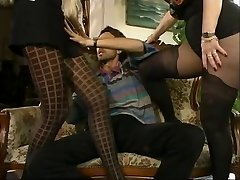MFF Steve got involved with two sizzling MILFs in stockings