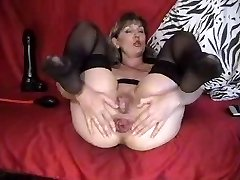 sexy mature loves anal fist fake penis pump rose caboose gape