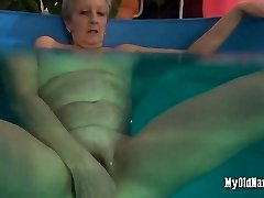 Granny luvs her new pool plaything