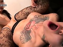 Nasty tattooed whore gets her clean-shaved part3