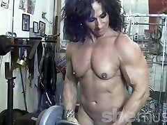 Annie Rivieccio Naked Female Bodybuilder in the Gym