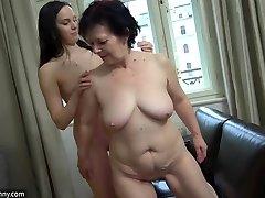 OldNanny Seksuali mergina masturbuotis, gauruotas pūlingas granny