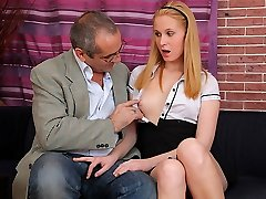 TrickyOldTeacher - Mature instructor tricks sexy student to poke her pussy for grades