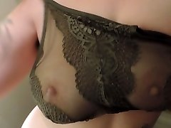 HD Milkymama strips and teases milk cans thru lacey bra
