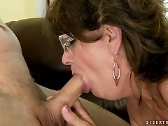 Horny granny takes it gargle and swallows cum