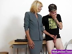 Mommy schoolteacher playing plus a cock