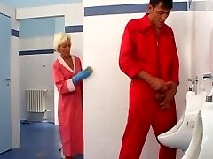 Mature romp in toilet
