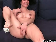French grandmother Emanuelle loves cleaning and stroking