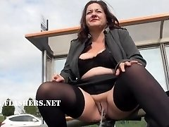 Chubby Andreas public nudity and naughty mum showing outdoors with british