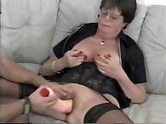 Mature grandmother Lena sucks on his hard cock and then uses dildo