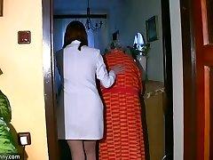 Plumper chubby Nurse masturbate with old Grandma