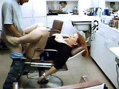 Hairdresser rests on my prick in the salon