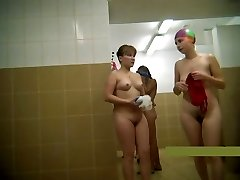 Middle-aged mothers naked in the douche #2