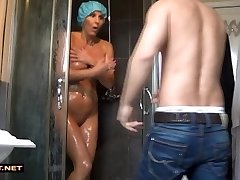 Real stepson rescuses step-mommy from the shower