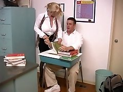 Mature blond with enormous fun bags screwed by college girl in the classroom