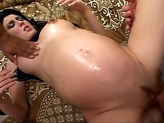 Dark-hued haired future mommy fucked while pregnant