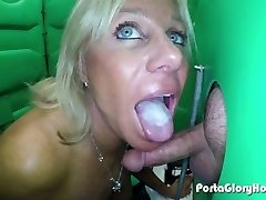 Mature Platinum-blonde giving public oral jobs to strangers