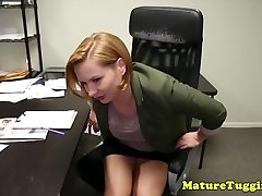 Office stepmom tugging perv stepsons manstick