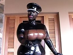 The Busty Latex Uniform Bitch - Blowjob Handjob with Latex Gloves - Jizm in my Mouth