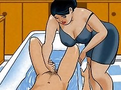 Mature mom hj man meat her boy! Animation!