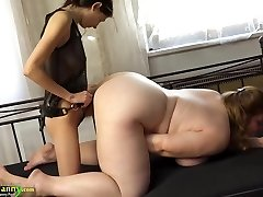 OldNanny Chubby busty grandmother masturbate with strap dildo and tee