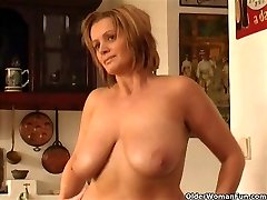 Chunky mature woman with yam-sized funbags