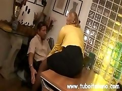 Ash-blonde Italian MILF makes out with the boss while her spouse watches