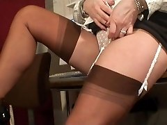 Sexy Stockings Teasing MILF in Busy Office