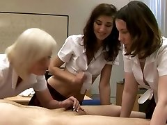 CFNM schoolgirls eager to tug manstick in their class room