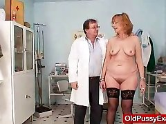 Redhead gran pussy wide open at gyno medical center