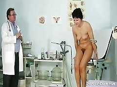 Mature woman Eva visits gynecology doctor to get gynecology studied