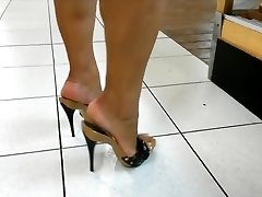Mature legs & feet in high heels mules (hottest of)