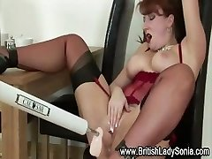 Mature british super-bitch fetish machine fuck
