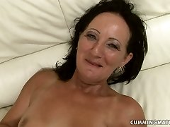 Outworn brunette mom gets her moist punani punctured with dildo machine