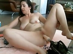 Taut Brunette Trying Her New Fucking Machine