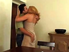 Stellar blonde mature in pantyhose loves boy's milk