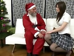 Old large Santa fucks a teen girl and her mother when she comes and joins the christmas sex!