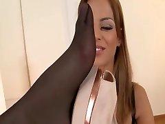 Hotties in tan and black pantyhose