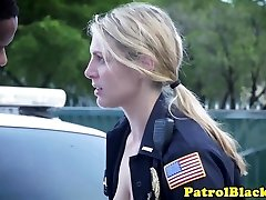 Female Domination cop gags on dark-hued cock and gets fucked