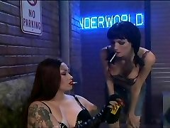 Smoking fetish lingerie tramps doing it