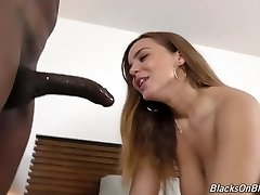 Sexy busty female gets her holes cleaned by black pool cleaner