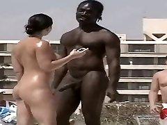 hot nudist ebony man horny at beach