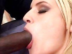 Christina Blondie smokes a cigarette and big black dick