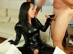 Wondrous  in Shiny Black Catsuit