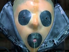 Tight ebony rubber mask makes Kristine Andrews suffocate and sob