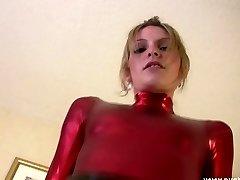 Babe in shiny red top and shiny pvc ebony mini micro-skirt